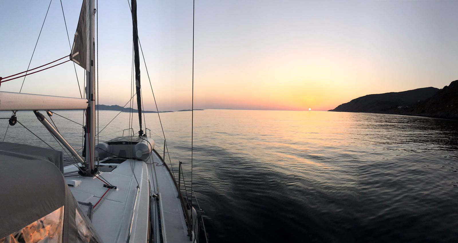 Sunrise Poros Greece Oceanis 38 Ortsasailing